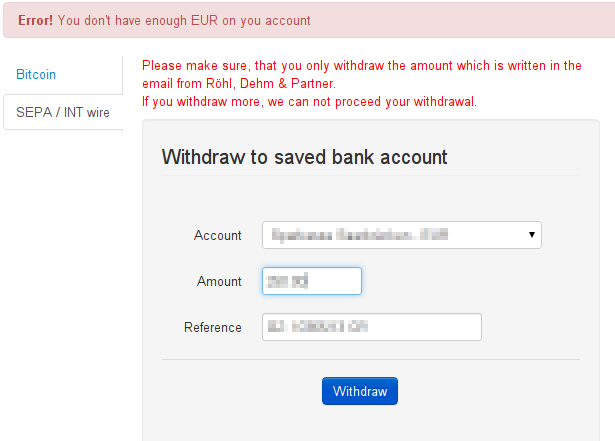 Withdrawal error