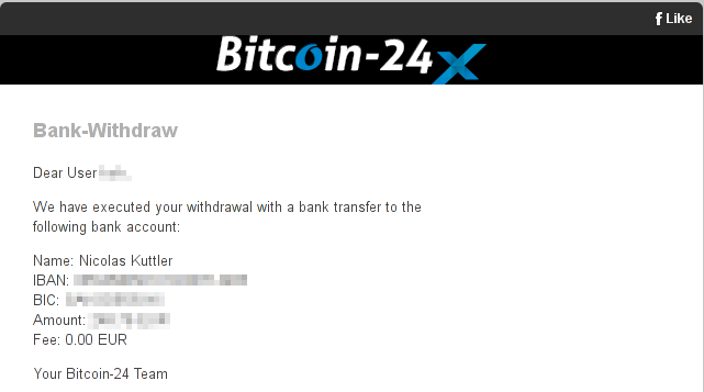 Withdrawal confirmed